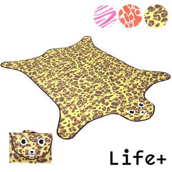 【Life Plus】動物叢林  造型野餐墊/遊戲墊_加大款 (褐色_豹紋)