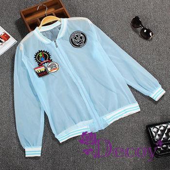 【Decoy】透視防曬*美式刺繡條紋外套/藍