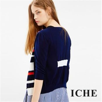 【ICHE 衣哲】條紋拼接針織外套