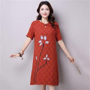 【Jisen】舒雅復古類棉麻洋裝