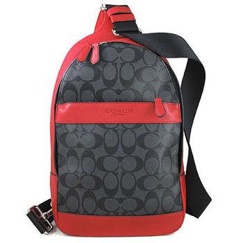 COACH 防潑水LOGO紅色皮革滾邊單肩/後背兩用包