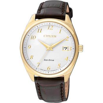 CITIZEN 星辰 光動能簡約時尚大三針皮帶腕錶/35mm/EO1172-05A