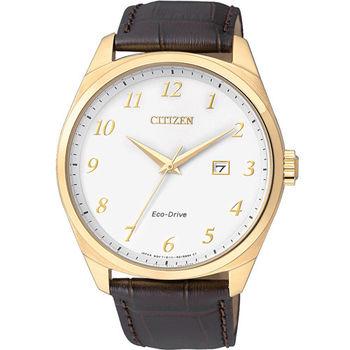 CITIZEN 星辰 光動能紳士簡約時尚皮帶腕錶/42mm/BM7322-06A