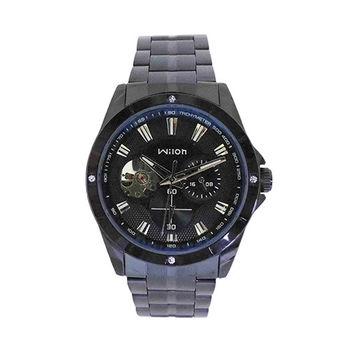 【Wilon】豪邁三眼鏤空視窗自動上鍊腕錶