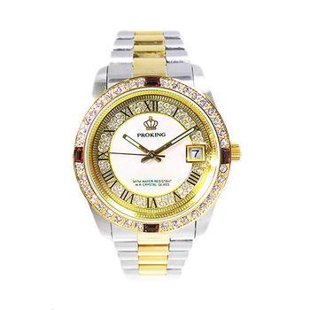【PROKING】豪氣貴族奢華晶鑽不鏽鋼男錶