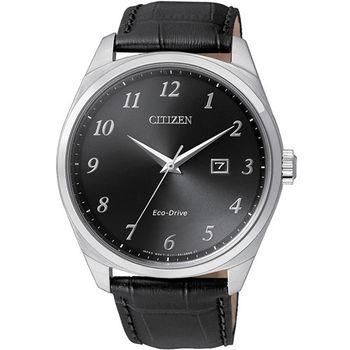 【CITIZEN 星辰】簡約時尚大三針光動能皮帶腕錶(42mm/BM7320-01E)