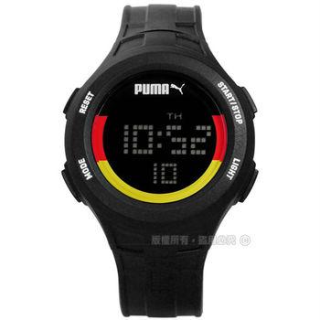 PUMA / PU911301012 / 經典奧運紀念款-德國運動電子橡膠手錶 黑紅黃x黑 43mm