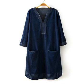 【Jisen】寬鬆明線V領牛仔洋裝