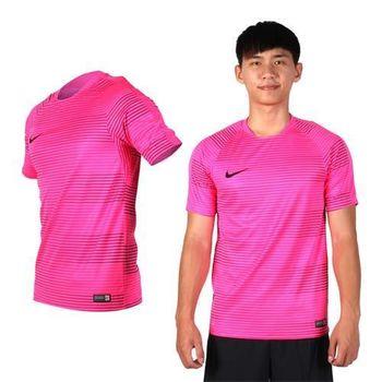 【NIKE】桃紅黑-男短袖針織衫 -T恤 慢跑 路跑 短T