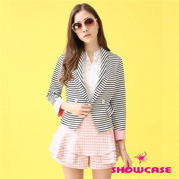 SHOWCASE 黑白條紋撞色西裝外套-161003A