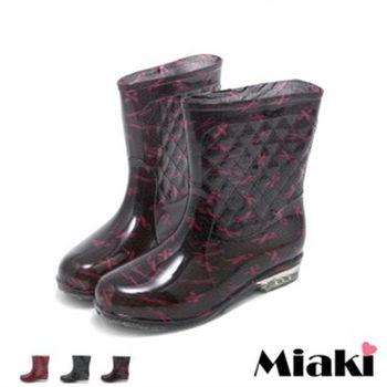 【Miaki】雨靴雨天首選低跟短靴雨鞋(紅絲帶 / 紅格 / 粉點)