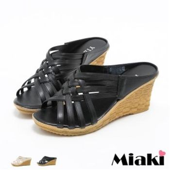【Miaki】涼鞋韓系交叉露趾坡跟涼拖(米色 / 黑色)