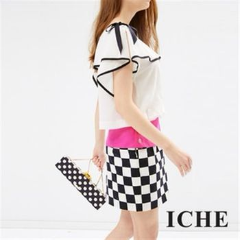 【ICHE 衣哲】假兩件棋盤格造型洋裝