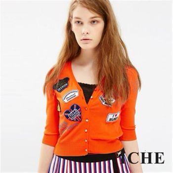 【ICHE 衣哲】刺繡徽章短版針織外套