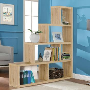 【咱的厝】L型多層展示櫃/書櫃/收納櫃/隔間櫃(淺橡色)
