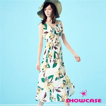 SHOWCASE 雪紡荷葉花朵長洋裝-161130F