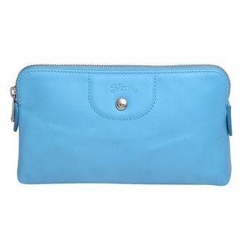 LONGCHAMP 經典LE PLIAGE CUIR系列小羊皮拉鍊手拿/化妝包(淡藍色)