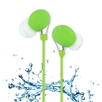 【活力揚邑】運動跑步防汗水防潑水重低音可360度調整耳掛入耳式麥克風線控3.5mm通用耳機-活力綠