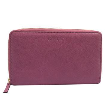 GUCCI 321117 質感全皮革壓紋護照多卡拉鍊長夾.粉紫