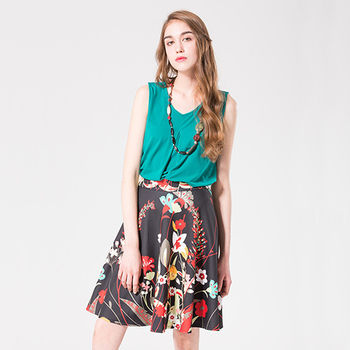 IFOREST 法式優雅口袋印花中裙16100
