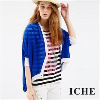 【ICHE 衣哲】白邊不規則下襬針織外套