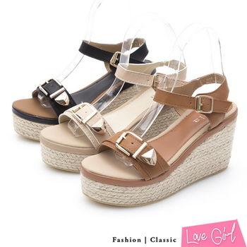 ☆Love Girl☆好感焦點金屬扣飾一字麻底楔型涼鞋