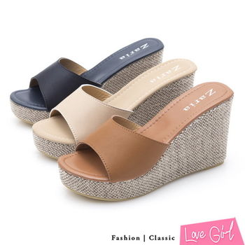 ☆Love Girl☆悠閒渡假寬面一字楔型涼拖鞋