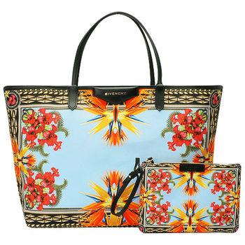 GIVENCHY ANTIGONA艷彩花卉印花麻棉子母購物包(多彩-附萬用小袋)