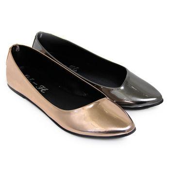 【Pretty】極簡金屬光感尖頭平底鞋-香檳色、銀色