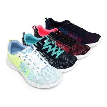 【GREEN PHOENIX】雙色漸層織法綁帶輕量休閒平底健走鞋-淺藍色、藍色、白色、黑色