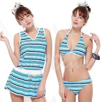 【聖手品牌】亮眼海洋風時尚三件式比基尼泳裝NO.A93422(現貨+預購)