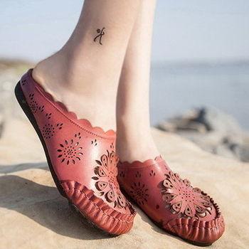 背叛風情-拖鞋女士真皮涼拖鏤空透氣平底拖鞋防滑T15ALX21801