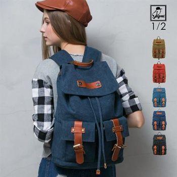 後背包1/2princess水洗帆布高磅數配真皮革耐重霧釦雙口袋後背包-5色 [A2127]