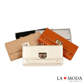 La Moda 獨家開版經典熱銷可放手機翻釦大容量長夾 (共5色)