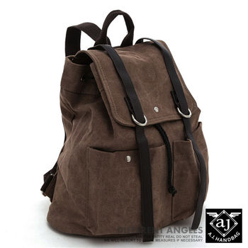 【AJ.亞介】 水洗帆布後背包 翻蓋式束口設計 咖色 (UE8810)