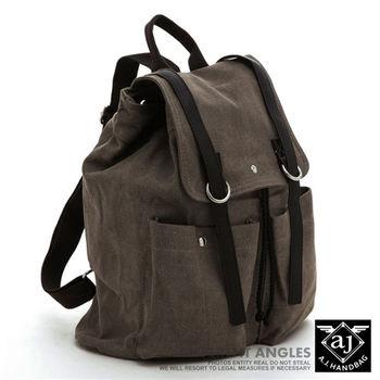 【AJ.亞介】 水洗帆布後背包 翻蓋式束口設計 綠色 (UE8810)