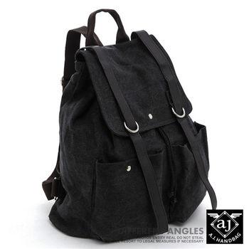 【AJ.亞介】 水洗帆布後背包 翻蓋式束口設計 黑色 (UE8810)