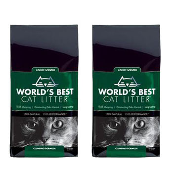 【World's Best Cat Litter】世嘉 森林花草香 強效凝結玉米砂 6磅 X 2入