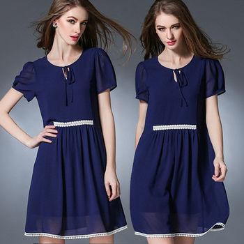 【麗質達人中大碼】藍色雪紡洋裝(L-5XL)