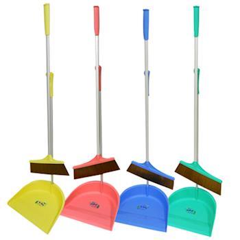 【清掃超值組】馬卡龍新潮掃把組(贈小掃把一支)4色可選+超細絨毛開纖擦拭布4條組