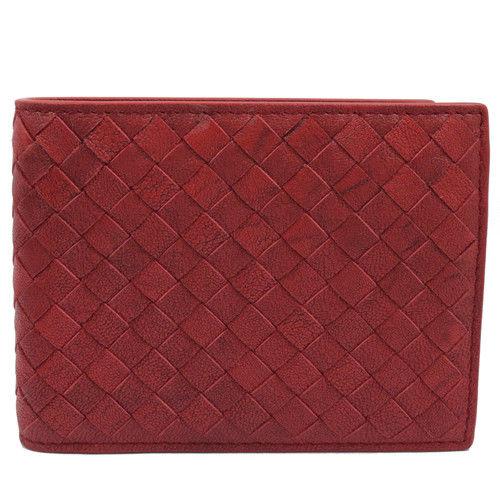 BOTTEGA VENETA 148324 純手工編織仿舊皮革信用卡零錢中短夾.紅