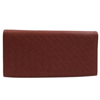 BOTTEGA VENETA 390878 純手工小羊皮編織對折簡式長夾.紅咖