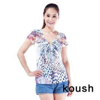 【kuosh】夏日豹紋之星花版上衣(FA-1170)