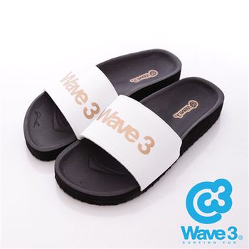 WAVE3(女) - 健康足底印模一片橡膠拖鞋 - 白黑