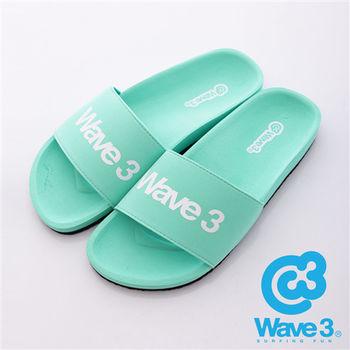 WAVE3(女) - 健康足底印模一片橡膠拖鞋 - 馬卡綠