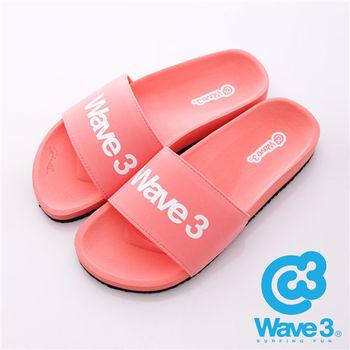 WAVE3(女) - 健康足底印模一片橡膠拖鞋 - 粉