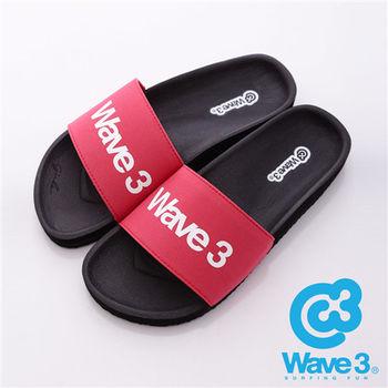 WAVE3(男) - 健康足底印模一片橡膠拖鞋 - 紅黑