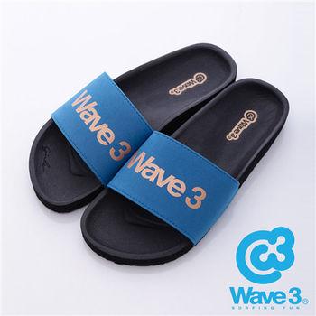 WAVE3(男) - 健康足底印模一片橡膠拖鞋 - 藍黑