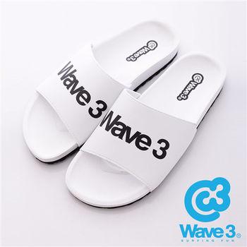 WAVE3(男) - 健康足底印模一片橡膠拖鞋 - 白