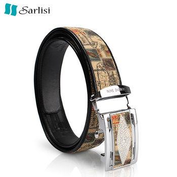 【Sarlisi】潮流珍珠魚皮帶(郵票紋、飛機紋、蟒蛇紋)